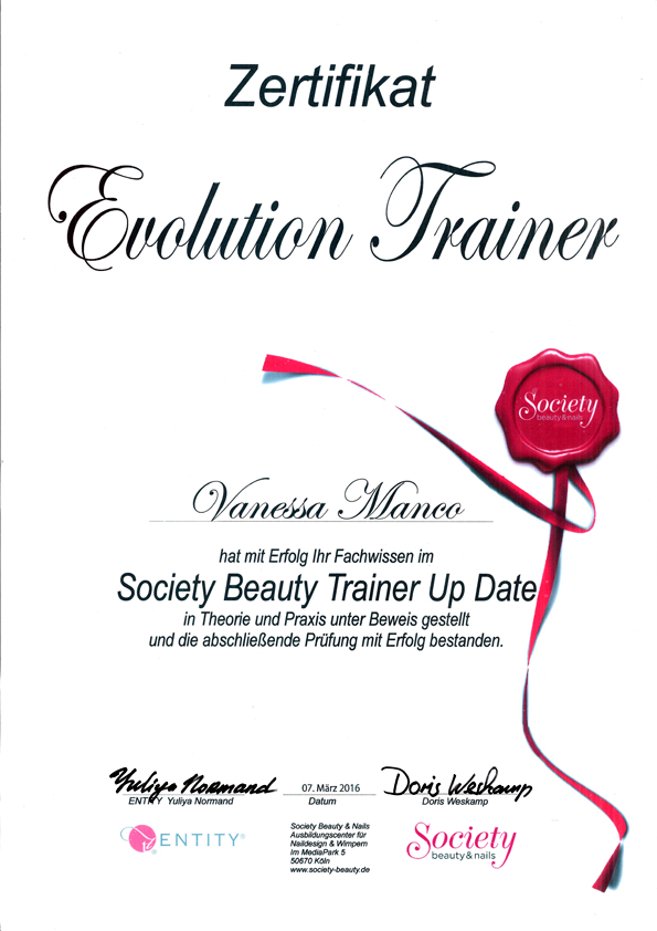 Zertifikat Society Beauty Trainer Up Date